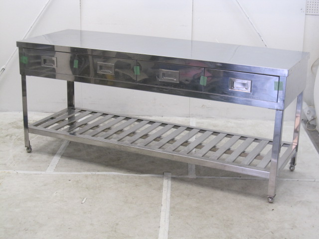 業務用 ステンレス引き出し付き調理台 W1800×D600×H800mm 買取しました!