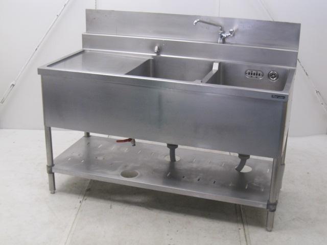 マルゼン 業務用 水切り2槽シンク バックガードあり W1350×D600×H760mm買取しました!