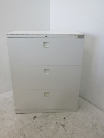 オカムラ 天板付3段ラテラル書庫 4BG3ZC ZA75、ホワイト