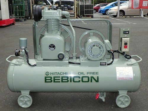 [大人気オイルフリー] 2馬力 エアーコンプレッサー/ベビコン/コンプレッサー 日立 1.5OP-8.5T 50Hz タンク70L [三相200V]買取しました!