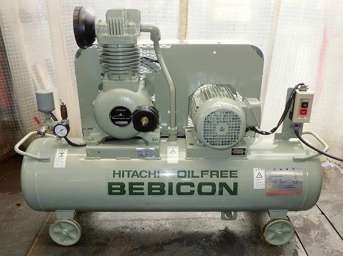 [人気のオイルフリー/9.5kgf/cm2] 2馬力 エアーコンプレッサー/ベビコン/コンプレッサー 日立 1.5OP-9.5G5 タンク70L 50Hz [三相200V]買取しました!