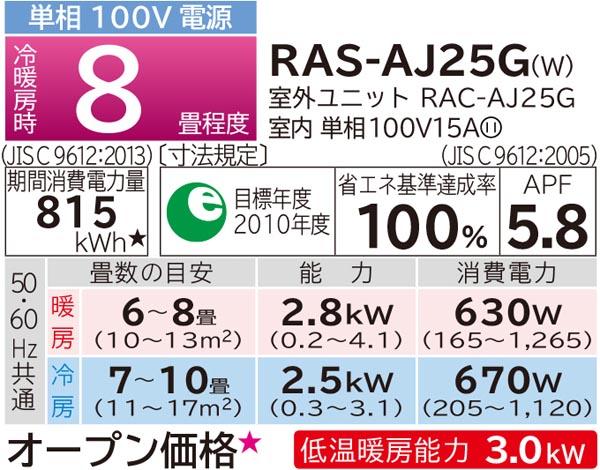 日立未使用品 2.5kwルームエアコンRAS-AJ25G(W)詳細画像5