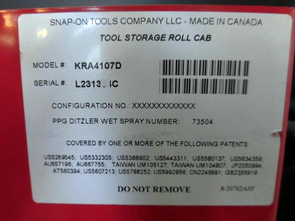 Snap-on/スナップオンツールボックス 工具箱 +エンドキャビネット KR295 KRA 4107D 詳細画像3