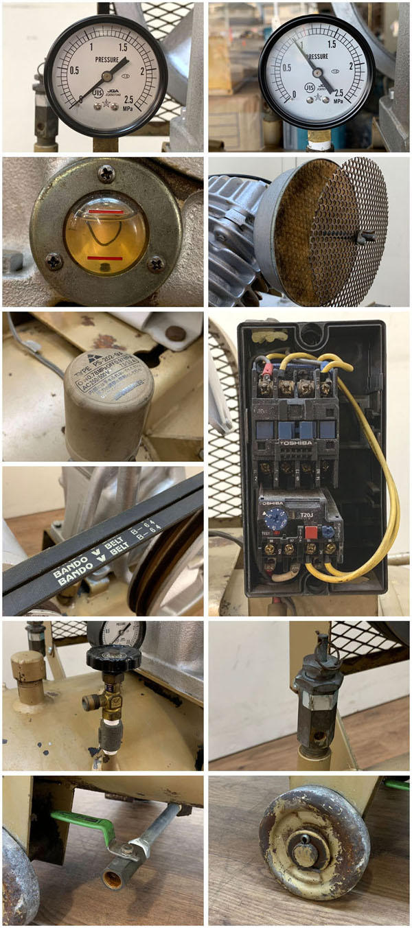 TOSHIBA/東芝3.7kW 5馬力 給油式 レシプロコンプレッサー/エアーコンプレッサーTOSCON SP106-37T4詳細画像7