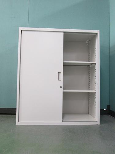 クロガネスライド書庫B0201Rカギ付 キズ・天板穴有 棚板2枚 ホワイト詳細画像3