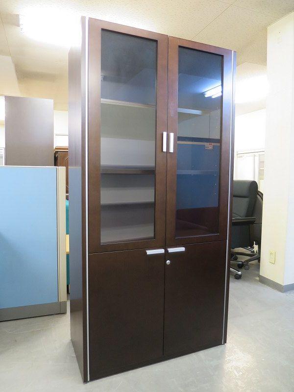 コクヨ 役員両開きガラス書棚 中古|オフィス家具|役員用家具|役員書庫