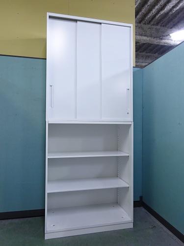 UCHIDA スライドオープン上下書庫 中古 オフィス家具 書庫