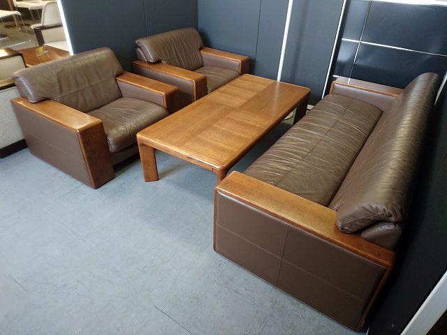 応接4点セット 中古|オフィス家具|応接セット|レザー