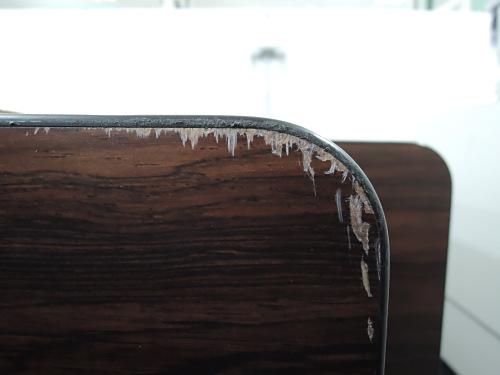 オカムラサイドスタックテーブルR1715Aチーク 棚付 ソフトエッジ キズ有詳細画像3