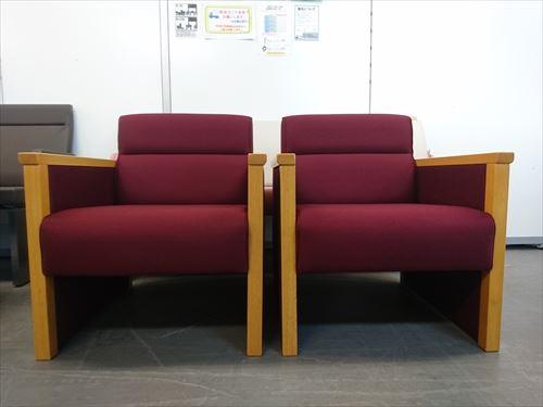 ウチダ 1人掛けソファ2脚セット 中古|オフィス家具|応接セット|ロビーチェア|その他