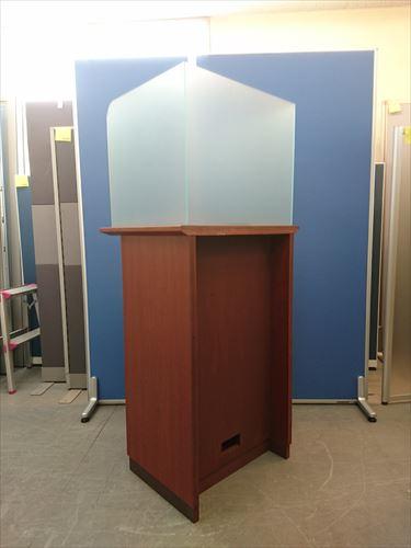 記載台T1225Yブラウン・木製・上部プラスチック板・配線ダクト付詳細画像2