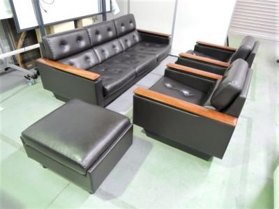 富士ファニチャー 応接ソファ4点セット 中古|オフィス家具|応接セット|レザー