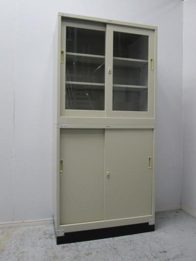 クロガネ ガラススライド上下書庫 中古|オフィス家具|書庫