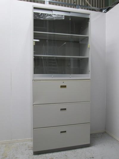 イトーキ ガラススライドラテラル上下書庫 中古|オフィス家具|書庫