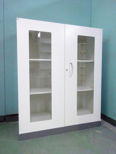 ライオン ガラス両開き書庫 中古|オフィス家具|書庫
