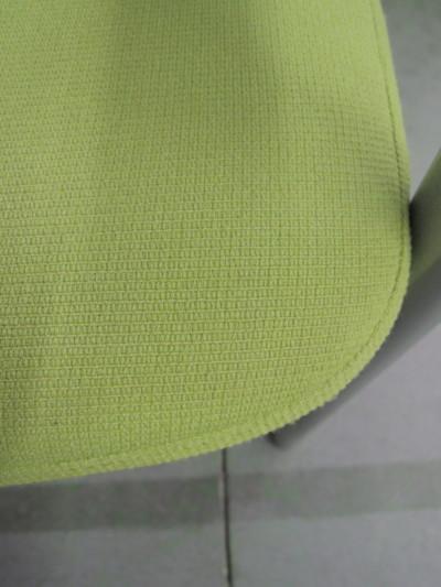 ライオンスタッキングチェア4脚セット2000000028861汚れ少々有/アップルグリーン色(防炎布)・肘付/詳細画像2
