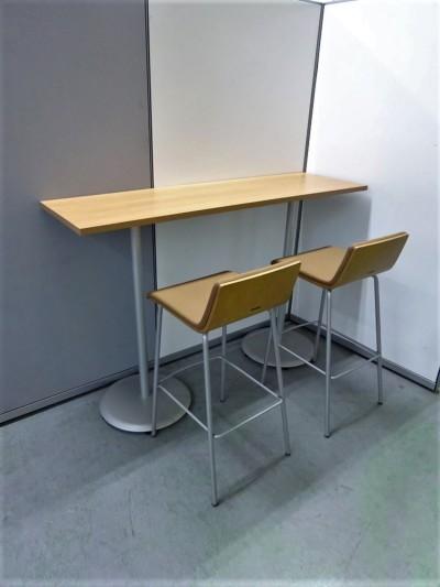 オカムラ  ハイテーブル3点セット 中古 オフィス家具 ミーティングテーブル