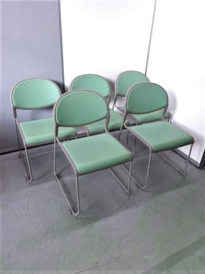 ウチダ(内田洋行) スタッキングチェア5脚セット  中古|オフィス家具|ミーティングチェア|スタッキングチェア