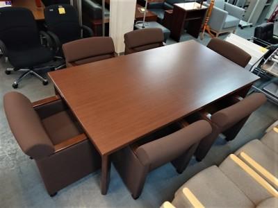 オカムラ 役員ミーティング7点セット 中古|オフィス家具|ミーティングテーブル|役員応接