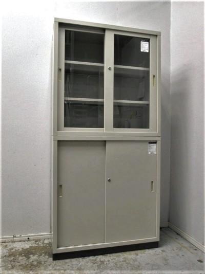 コクヨ ガラススライド上下書庫 中古|オフィス家具|書庫