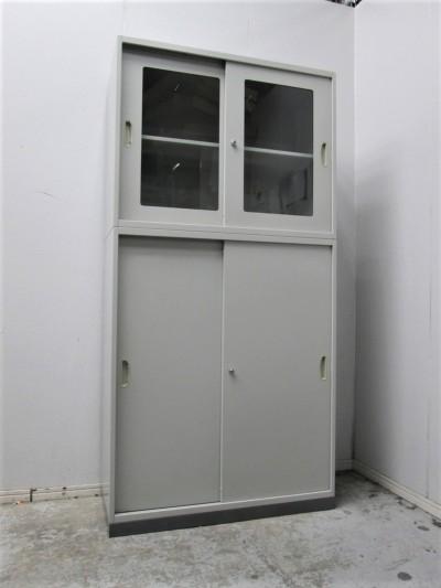 ナイキ ガラススライド上下書庫 中古|オフィス家具|書庫